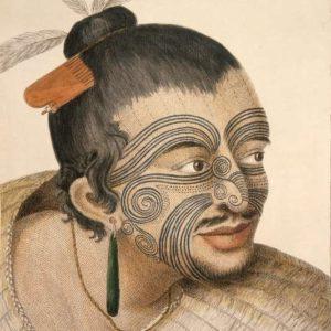 Dessin d'un chef maori réalisé en 1784 après le premier voyage de l'explorateur britannique James Cook en Nouvelle-Zélande. SYDNEY PARKINSON
